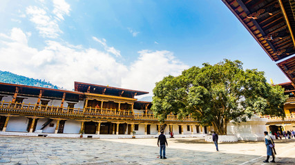 Fototapete - The hardscape plaza with the terrace building background with Bhutan temple in Asia, Punakha,Bhutan