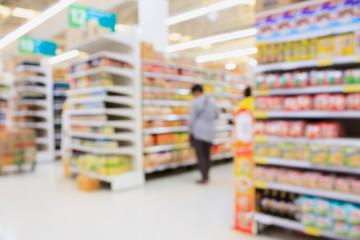 Supermarket interior blur background