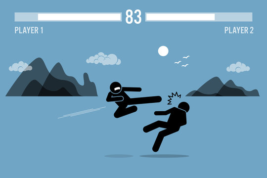 Stick figure fighter characters fighting inside a video game scene with health bars on top. One person is flying kicking another man with beautiful scenery at the background.
