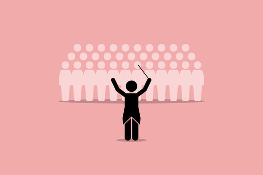 Conductor conducting a choir group. Vector artwork depicts leadership, director, instructor, master, and coordinator.
