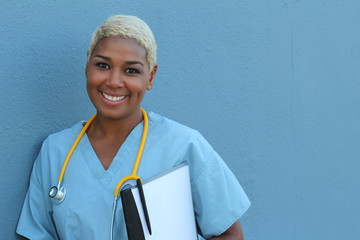 Black nurse isolated on blue