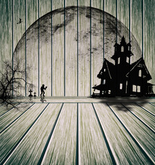 illustration Halloween design : Plank wood horror tone for halloween background.