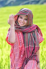 e091b7718 Asian woman wear traditional costume sitting in terrace rice farm ...