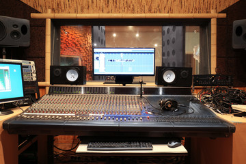 Sound engineer workplace in recording studio