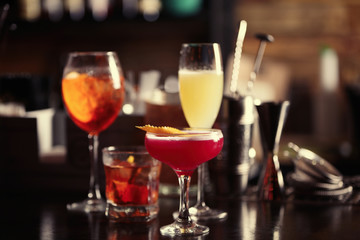 Different drinks on bar counter