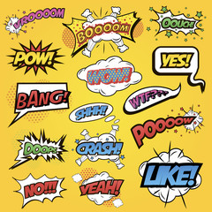 Comics speech and exclamations.