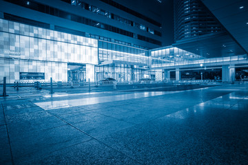 view of city square in China of blue tone.