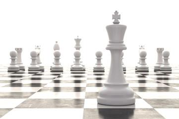 3d rendering chessmen on glossy chessboard