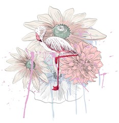 Vector sketch of a flamingo with flowers. Hand drawn illustration