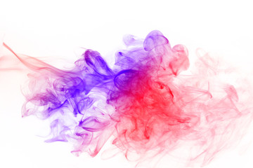 Abstract colorful fume waves over the white background.Soft focu