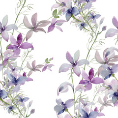 Seamless pattern of wild flowers on a colored background
