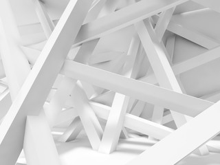 Obraz  Chaotically oriented beams in empty room. 3d - fototapety do salonu