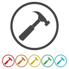 Hammer Icon with Color Variations