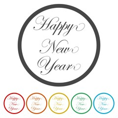 Happy New Year, lettering design circle