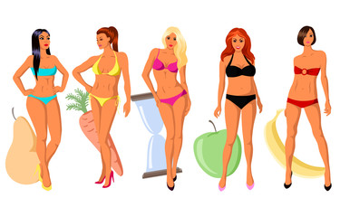 5 types of women's figure: pear, carrot, hourglass, apple and banana