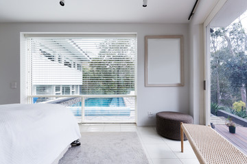 View of the pool from bedroom in luxury Australian home