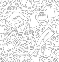 Different shopping items and clothes seamless pattern
