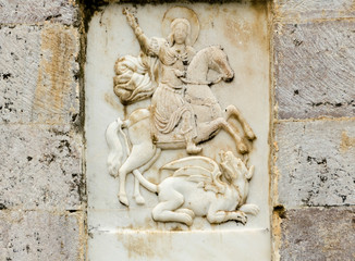 St. George the Victorious on marble sclulpture, Stemnitsa village Greece