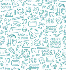 Seamless pattern with set of different school things