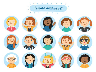Set of 15 female characters avatars