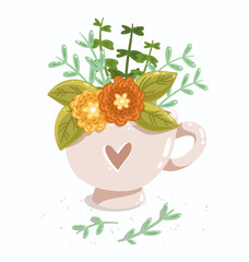 Lovely cup with flowers and heart