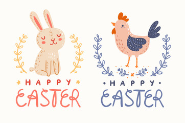 Happy Easter bunny and chicken greetings graphic