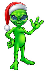 Christmas Alien in Santa Hat