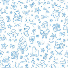 Christmas seamless pattern outlined style