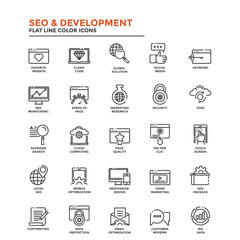 Flat Line Color Icons- SEO