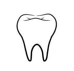 Tooth Line Art. A hand drawn vector illustration of a healthy tooth.