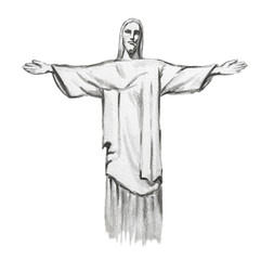 Isolated watercolor Christ the redeemer on white background. Symbol of Rio, Brasil. Amazing landmark.