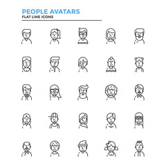 Flat Line Color Icons- People avatars