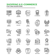 Flat Line Color Icons- Shopping and E commerce
