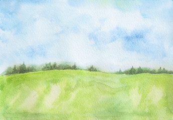 Watercolor rural landscape. Beautiful green field and blue sky. Summer village or farm.
