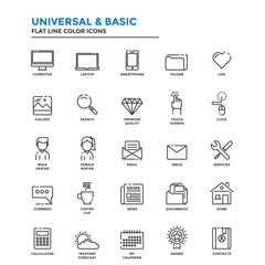 Flat Line Color Icons- Universal and Basic