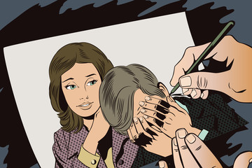 People in retro style. Woman soothes upset man