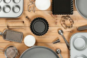 Bakery Utensils. Baking Kit. Kitchen Tools. Top View.