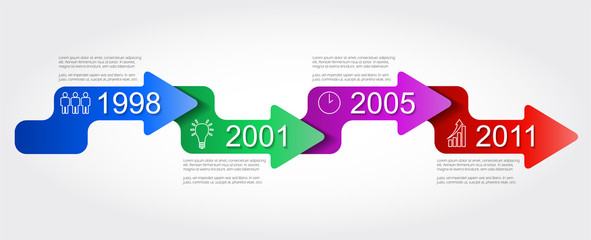 four step vector timeline infographic template