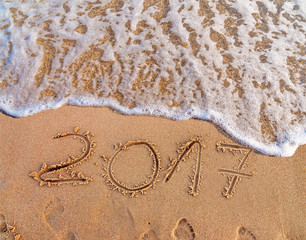 New Year 2017 is coming concept written on sandy beach