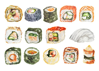 Watercolor sushi set. Different kinds of sushi as rolls, maki and more. Rice and fish.