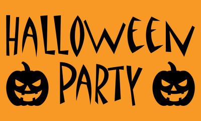 Icono plano texto HALLOWEEN PARTY con calabaza