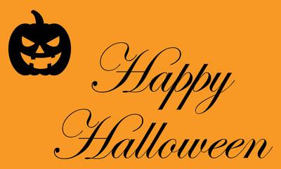 Icono plano texto Happy Halloween con calabaza