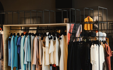clothes in a fancy shop