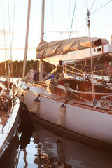 Sunset on classic yachts in Sandhamn Sweden