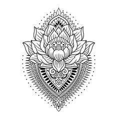 lotus with mandala outlines