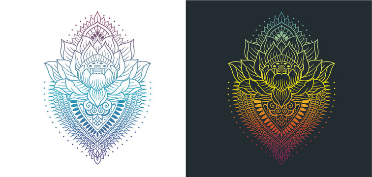 lotus with mandala colored outlines