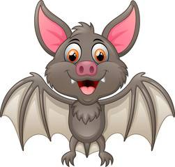 Happy vampire bat cartoon character
