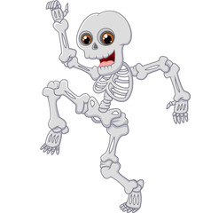 Skeleton walk and dance isolated on white background