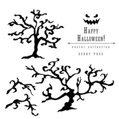 Scary dead trees silhouette vector halloween decoration set with branches. Brush pen ink illustration for halloween design.