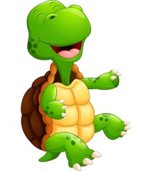 Cute green turtle cartoon laugh